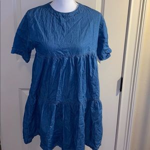 boohoo denim style three tiered dress